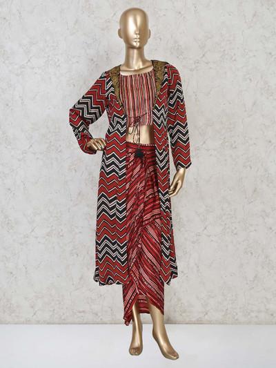 Maroon colour indowestern salwar suit