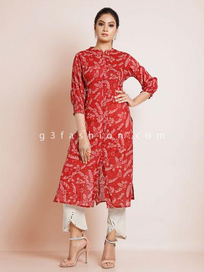 Maroon cotton festive wear printed punjabi style pant suit