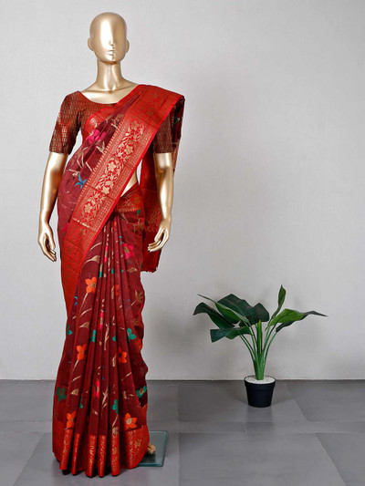 Maroon cotton saree for festive look