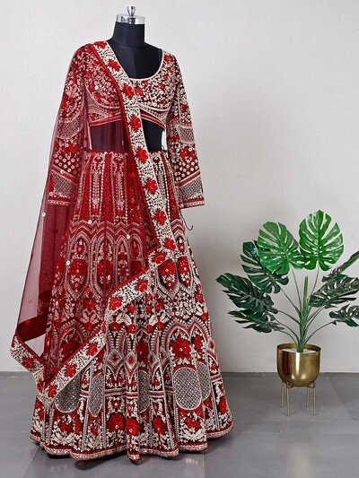 Maroon designer lehenga for wedding
