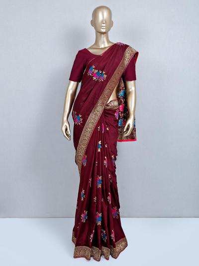 Maroon festive wear muga silk saree