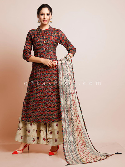 Maroon printed palazzo suit for festival