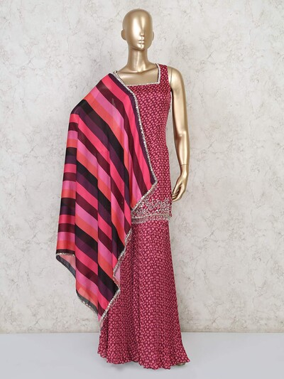 Maroon punjabi cotton silk sharara suit