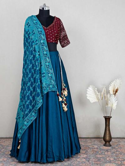Teal blue raw silk lehenga for wedding sessions
