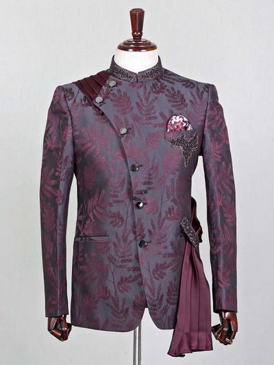 Maroon silk party wear mens coat suit