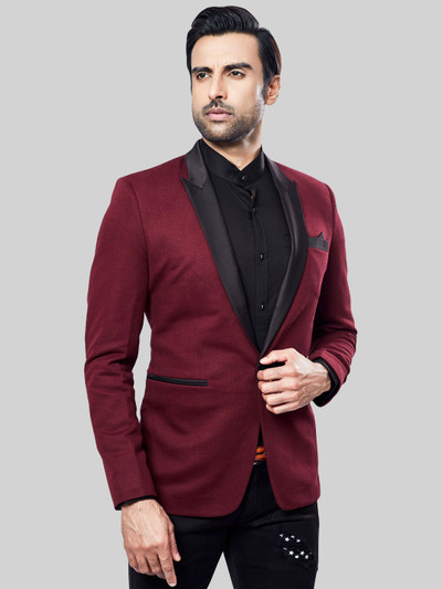 Maroon terry rayon party solid blazer