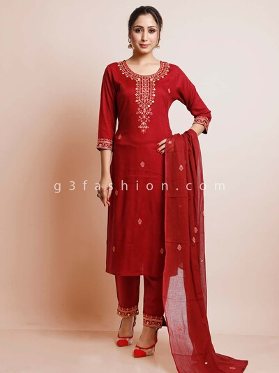 Maroon thread inflated festive wear pan tsuit