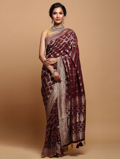 Maroon Wedding Wear Bandhej Silk Saree