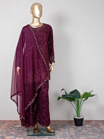 Maroon wedding wear palazzo suit for women