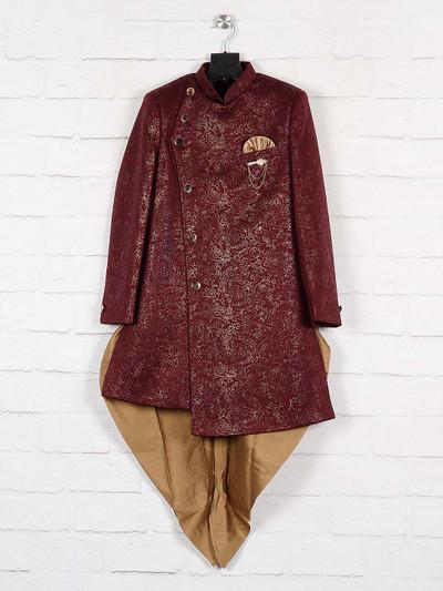 Maroon wedding wear silk indo western