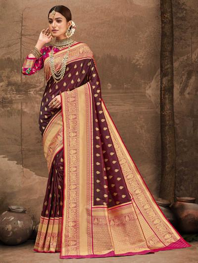 Maroon zari weaving banarasi silk wedding session saree