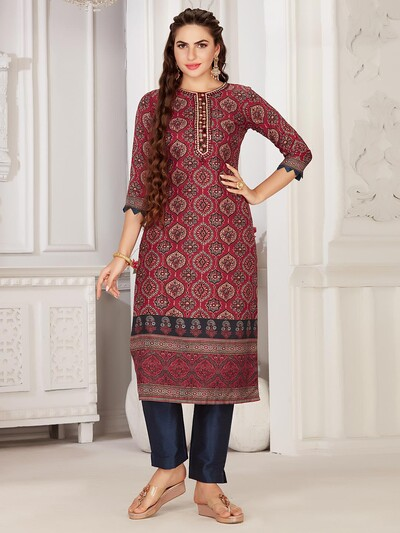 Marron cotton festive wear kurti