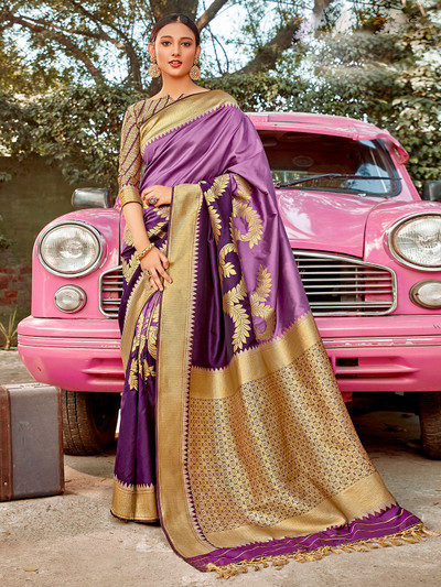 Marvellous violet and purpe half n half semi silk saree for wedding occasions
