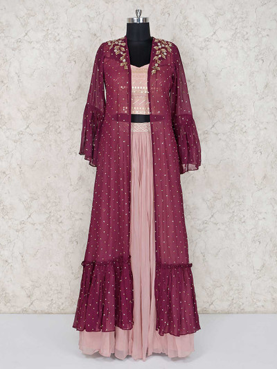 Mauve jacket style lehenga and crop top in georgette