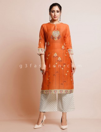Orange cotton printed palazzo suit