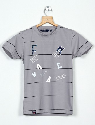 99 Balloon grey printed slim fit polo t-shirt