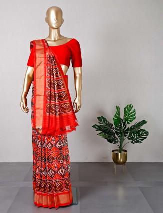 Beautiful wedding wear brown patola silk saree