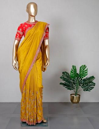 Cotton silk mustard yellow fesyive wear saree with ready made blouse