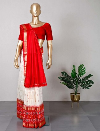 Cream patola silk saree for women
