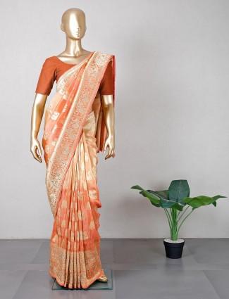 Designer wedding wear peach saree in silk