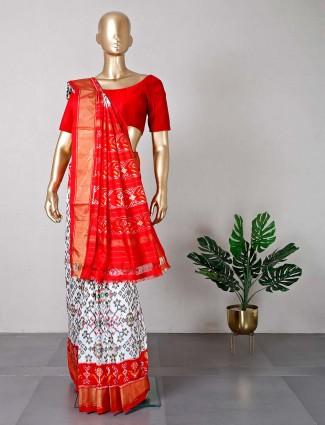 Designer white patola silk wedding saree