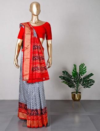 Exclusive grey wedding wear patola silk saree
