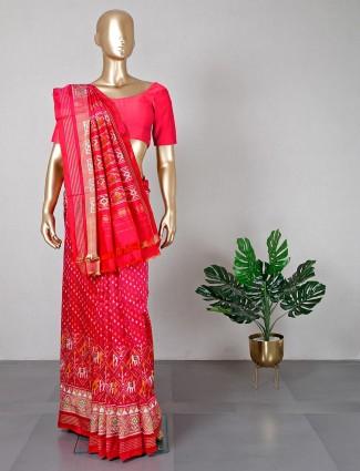 Exclusive patola silk red wedding saree