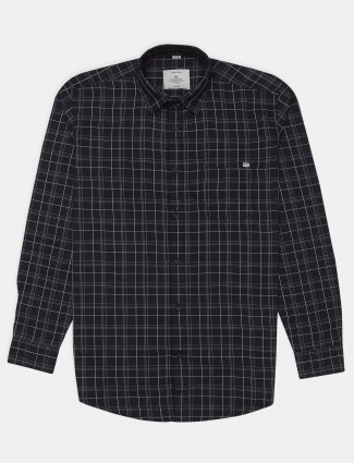 Gainti black cotton casual wear slim fit shirt