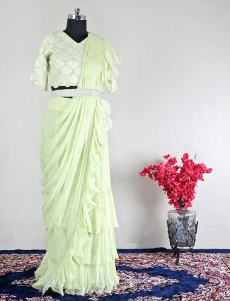 Green wedding wear georgette saree