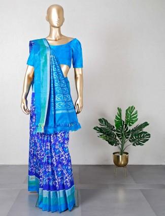 Latest wedding dark blue patola silk saree