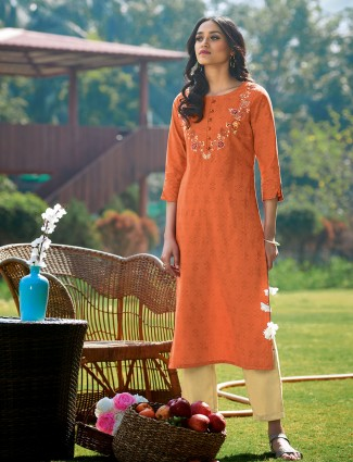 Orange cotton casual wear printed kurti
