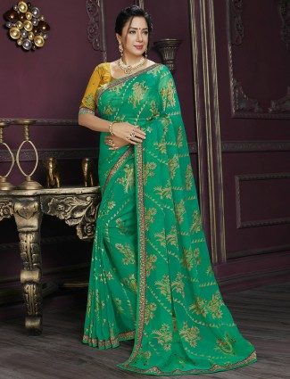 Printed jade green festive occasions georgette saree