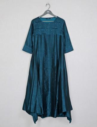 Stuning casual wear rama blue raw silk kurti