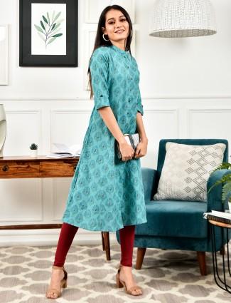 Teal blue cotton casual wear printed kurti