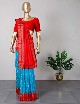Wedding wear blue patola silk saree