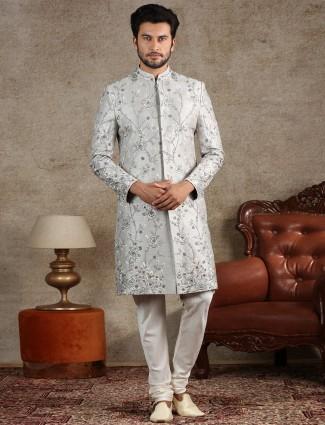 A royal grey sherwani for groom in raw silk