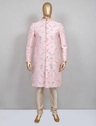 A royal pink sherwani for groom in raw silk