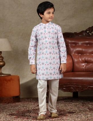 Adorable pink cotton festive wear kurta suit