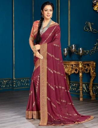 Adorable purple chiffon saree for festive look