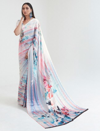 Adorable white crepe printed saree