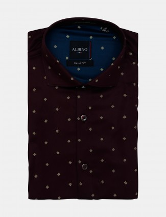 Albino maroon cotton formal shirt with printed style