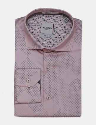Albino pink printed cotton mens shirt