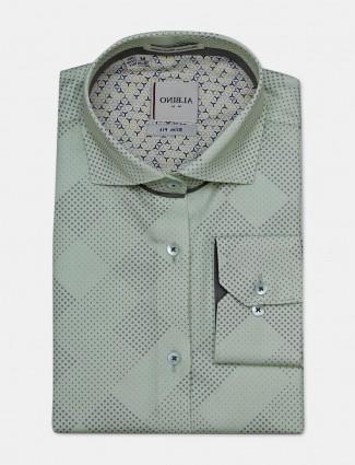 Albino pista green printed formal shirt