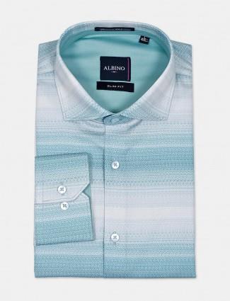 Albino printed formal aqua shirt
