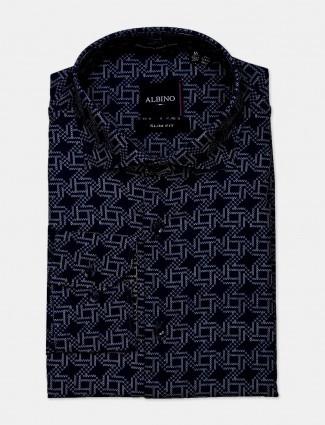 Albino printed navy formal shirt for mens