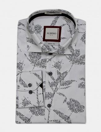 Allbino white cotton printed shirt