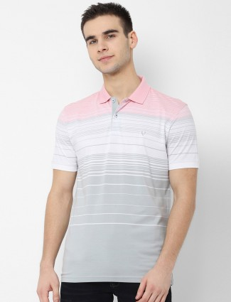 Allen Solly grey and white stripe t-shirt