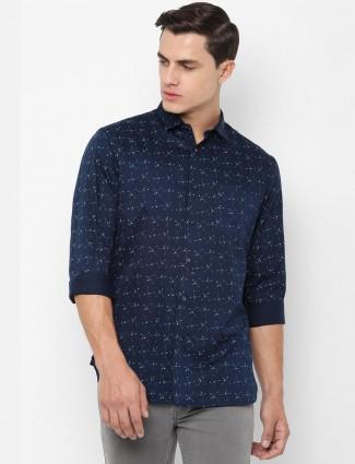 Allen Solly navy printed cotton shirt