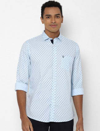 Allen Solly printed cotton casual shirt in powder blue hue