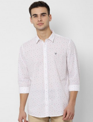 Allen Solly printed mens white shirt